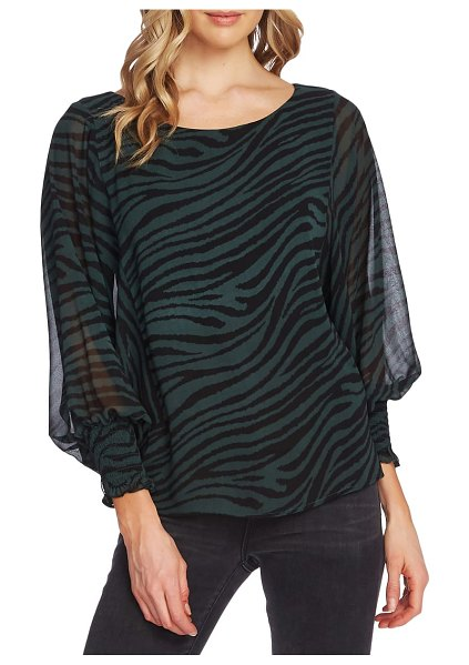 Vince Camuto animal stripe batwing sleeve top in dark willow