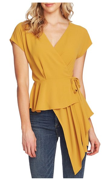 Vince Camuto asymmetrical wrap blouse in honey pot