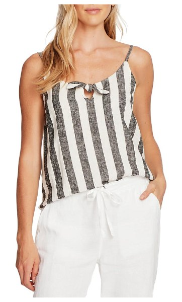 Vince Camuto bold view stripe linen blend tank top in rich black