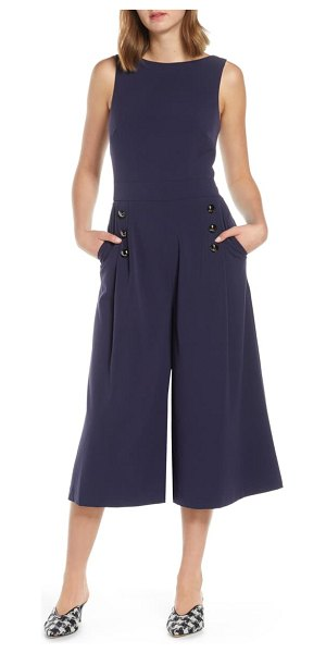 Vince Camuto button detail crop wide leg jumpsuit in navy