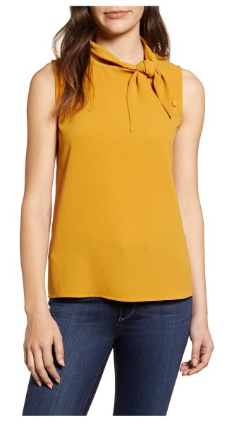 Vince Camuto button detail tie neck sleeveless blouse in honey pot