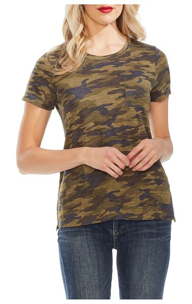 Vince Camuto camo pocket tee in green oasis