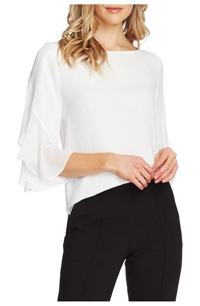 Vince Camuto chiffon detail ruffle sleeve blouse in pearl ivory