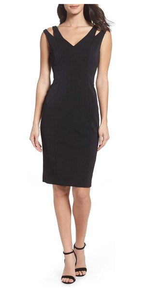 VINCE CAMUTO cutout shoulder crepe sheath dress - Full-length princess seams extend from the sultry...