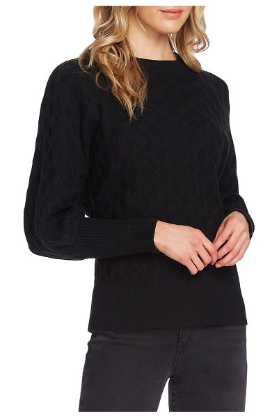 Vince Camuto diamond stitch sweater in rich black