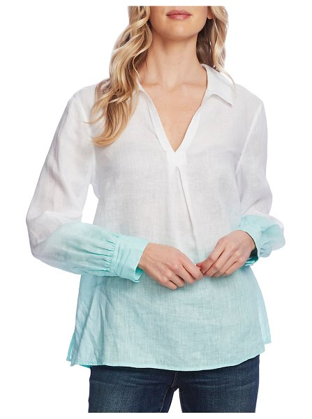 Vince Camuto dip dye linen top in ultra white