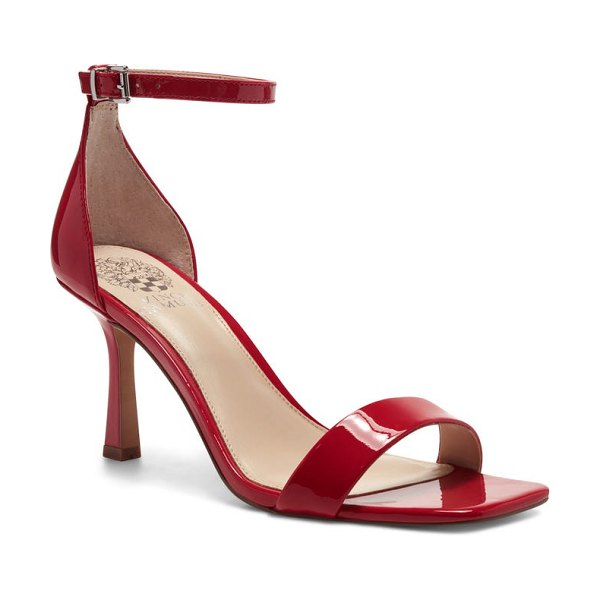 Vince Camuto enella ankle strap sandal in razz red patent leather