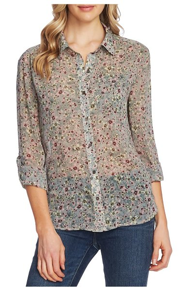 Vince Camuto floral layers roll tab sleeve blouse in sf juniper ash