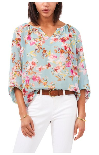 Vince Camuto floral peasant blouse in crystal lake
