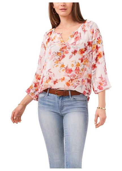 Vince Camuto floral peasant blouse in new ivory