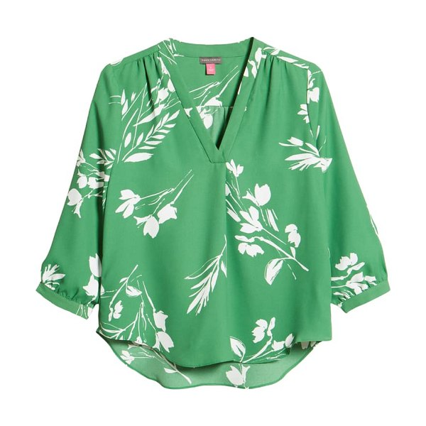 Vince Camuto floral print v-neck top in alpine grove