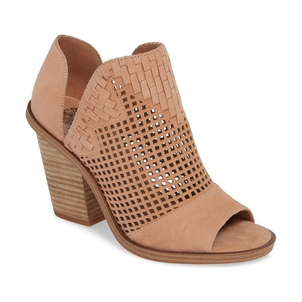 Vince Camuto fritzey perforated peep toe bootie in pink - Perforations, woven detailing and side cutouts that dip...
