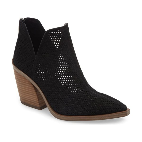 Vince Camuto gibbela woven pointed toe bootie in black
