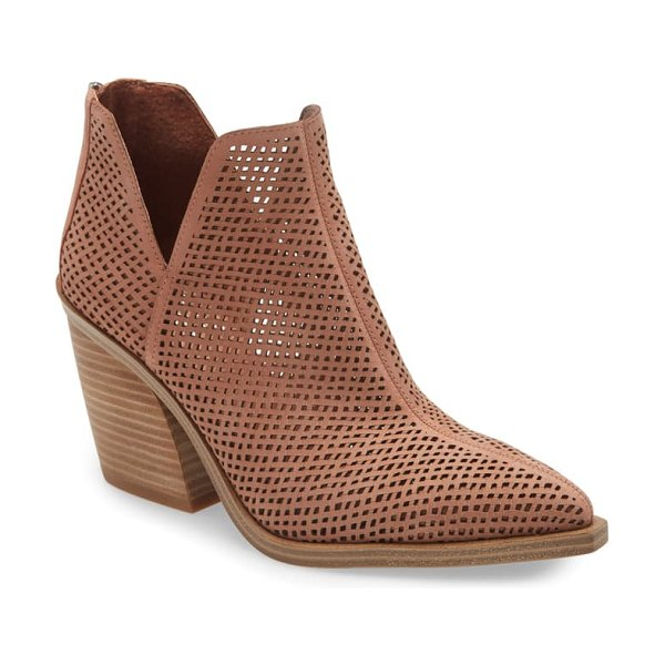 Vince Camuto gibbela woven pointed toe bootie in canyon clay