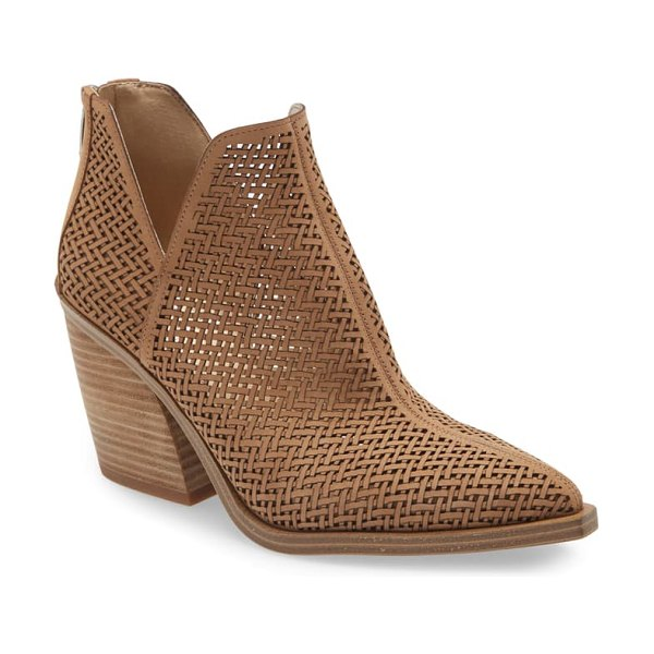Vince Camuto gibbela woven pointed toe bootie in tortilla