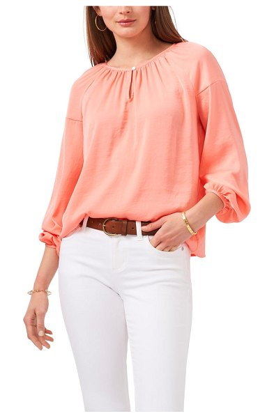 Vince Camuto hammered satin blouse in cool melon
