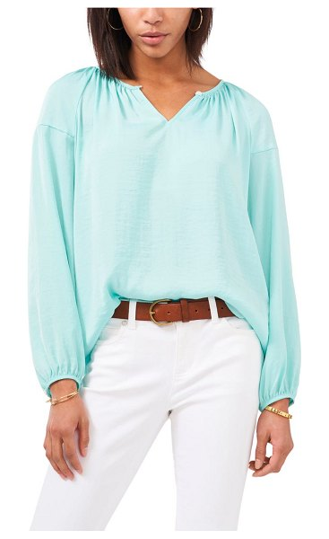 Vince Camuto hammered satin blouse in crystal lake