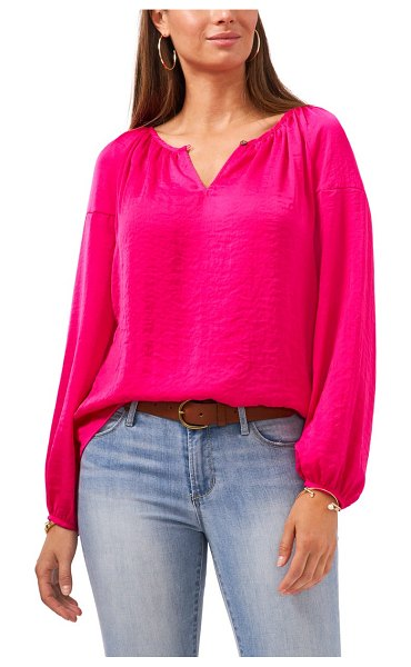 Vince Camuto hammered satin blouse in pink shock