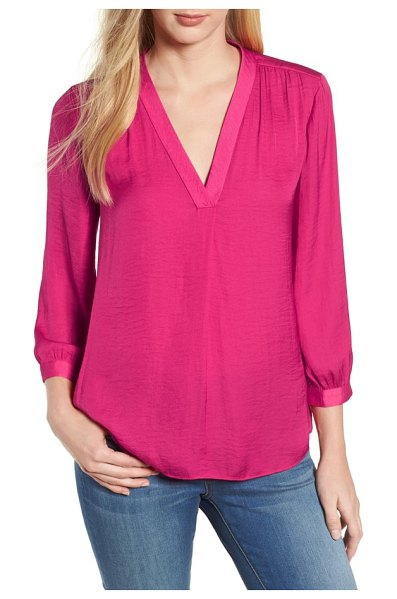 Vince Camuto hammered satin blouse in pink flame