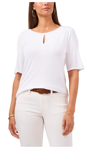 Vince Camuto keyhole knit top in ultra white
