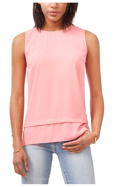 Vince Camuto layered sleeveless blouse in cool melon