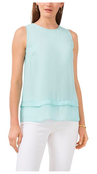Vince Camuto layered sleeveless blouse in crystal lake