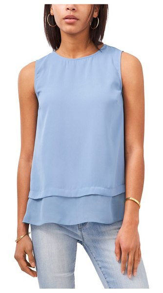 Vince Camuto layered sleeveless blouse in canyon blue