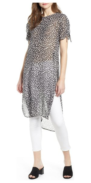 Vince Camuto leopard tunic in 060-rich black - This floaty tunic with drawstring-ruched sleeves makes...