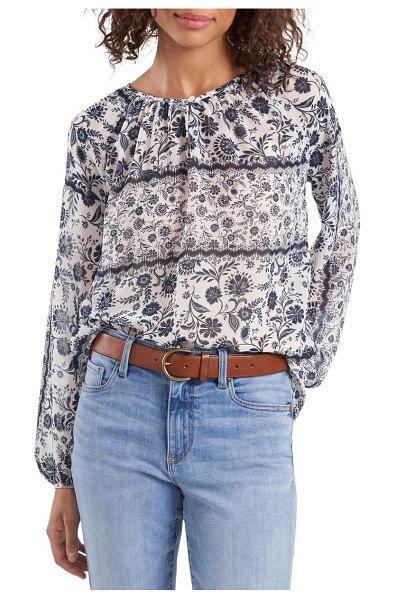 Vince Camuto mix floral print peasant blouse in new ivory