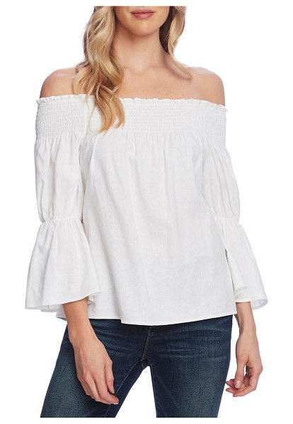 Vince Camuto off the shoulder bell sleeve linen blend blouse in ultra white