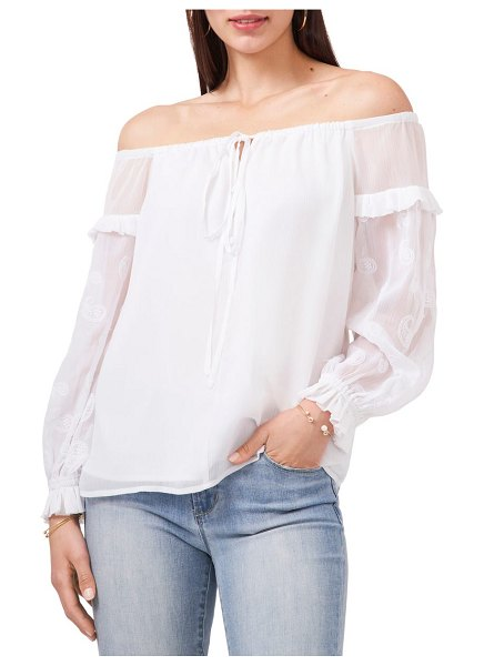 Vince Camuto off the shoulder embroidered sheer sleeve blouse in ultra white
