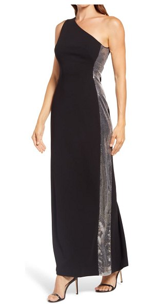 Vince Camuto one-shoulder sequin gown in black