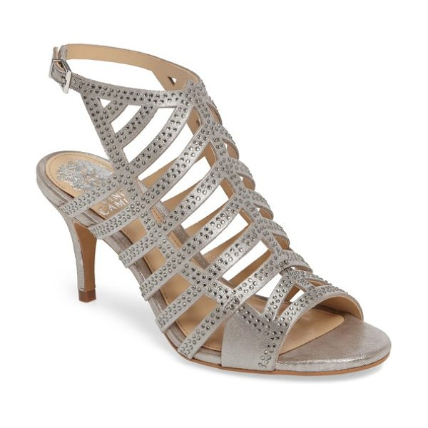 Vince Camuto patinka sandal in pewter suede - Tiny sparkling crystals light up the cage straps on an...