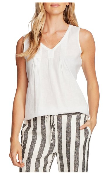 Vince Camuto pintuck sleeveless linen top in ultra white