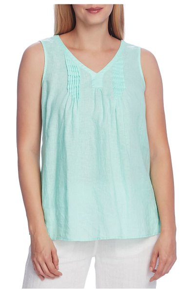Vince Camuto pintuck sleeveless linen top in aqua ice