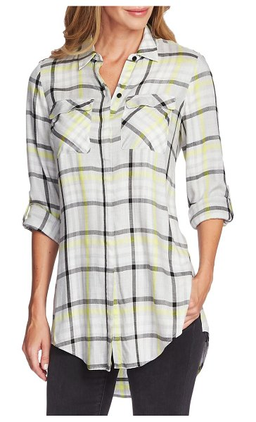 Vince Camuto plaid tunic in lime chrome