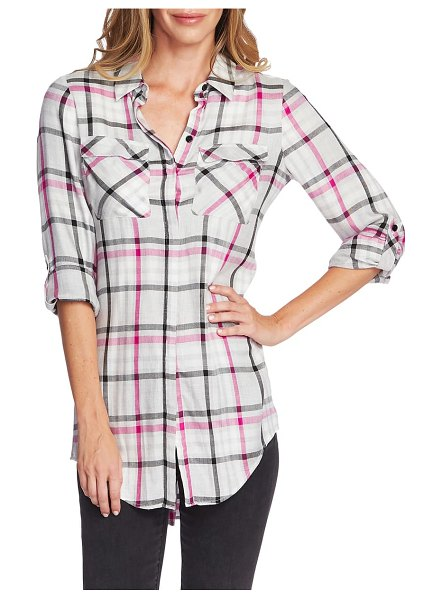 Vince Camuto plaid tunic in pink shock