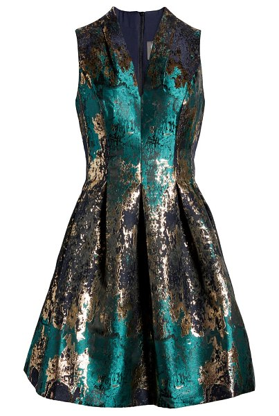 Vince Camuto pleated metallic jacquard fit & flare minidress in green multi