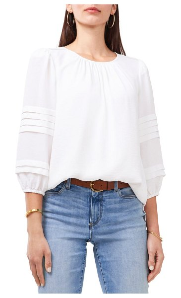 Vince Camuto pleated sleeve gauze blouse in ultra white