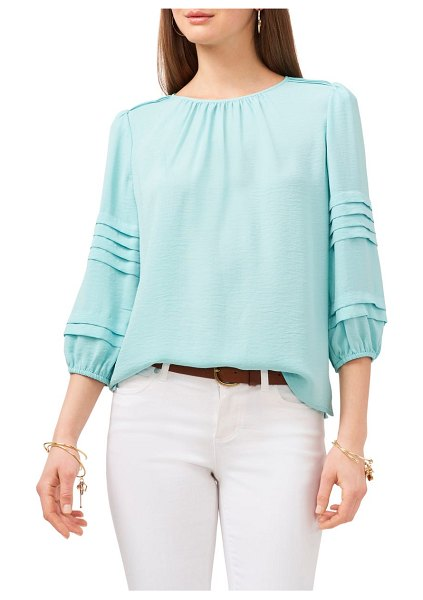 Vince Camuto pleated sleeve gauze blouse in crystal lake