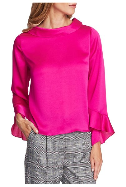 Vince Camuto portrait collar flutter cuff satin blouse in pink shock