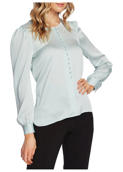Vince Camuto puff shoulder hammered satin blouse in flora green