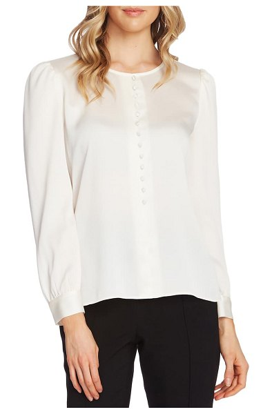 Vince Camuto puff shoulder hammered satin blouse in pearl ivory