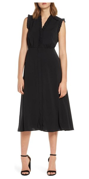 Vince Camuto ruffle detail crepe a-line dress in black
