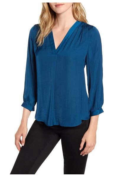 Vince Camuto rumple fabric blouse in deacon blue