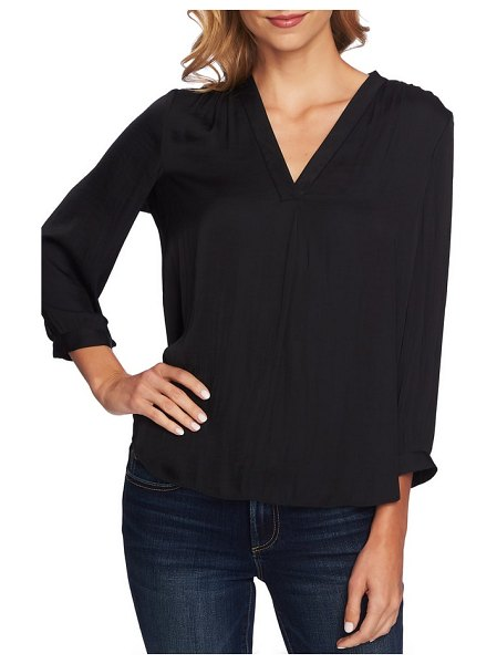 Vince Camuto rumple fabric blouse in rich black