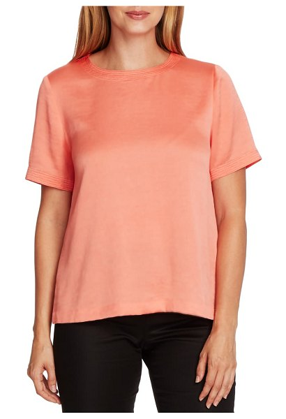 Vince Camuto rumple hammered satin tee in bright coral