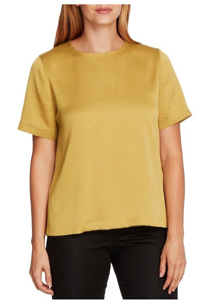 Vince Camuto rumple hammered satin tee in golden lime