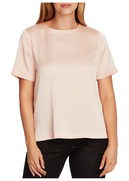 Vince Camuto rumple hammered satin tee in apricot cream