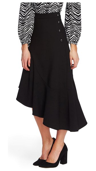 Vince Camuto side button asymmetrical stretch crepe skirt in rich black